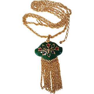 TRIFARI Green Persian Gardens Necklace Jewels India Red Green Blue Cabs