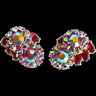 TRIFARI Red Aurora Borealis Domed Earrings