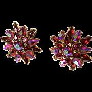 TRIFARI Red Aurora Borealis Star Earrings