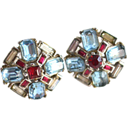 GORGEOUS Aqua Blue and Ruby-red Clip Earrings TRIFARI
