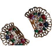 Colorful TRIFARI Earrings Multi-shape Stones Basketweave settings