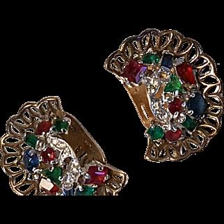 Colorful TRIFARI Earrings Multi-shape Stones Basketweave settings