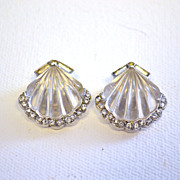 "TRIFARI ""Moonshell"" Phillipe Earrings Clip Jelly Belly"