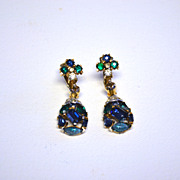 TRIFARI Jeweled Symphony Dangling Drop Earrings Blue & Green