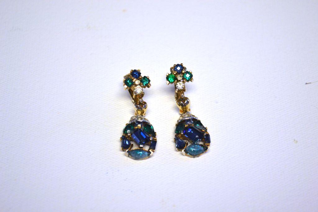TRIFARI Jeweled Symphony Dangling Drop Earrings Blue & Green