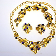 TRIFARI Kunio MATSUMOTO Purple Grape Necklace Bracelet Pin Earrings Full PARURE