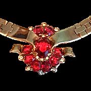 BRILLIANT Trifari RED Tesselated Necklace Transparent Stones Open Back