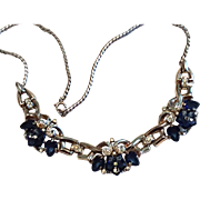 1948 Crown TRIFARI Sapphire-Blue Dewdrop Flower Necklace Carved Glass Flowers/Acorn Alfred Philippe