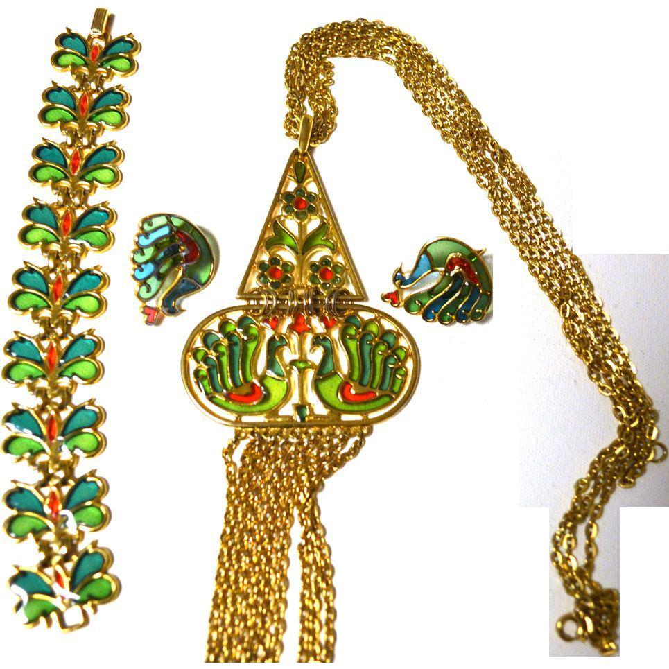 "Trifari RARE Necklace Bracelet Earrings Plique A Jour Peacocks ""Stained Glass"""