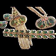 DYNAMIC Trifari Pin Necklace Bracelet Earrings PLIQUE a JOUR Parure