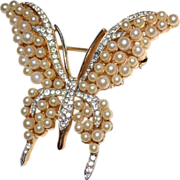 TRIFARI Sparkling Rhinestone & Simulated Pearl Tall Wing Butterfly Brooch