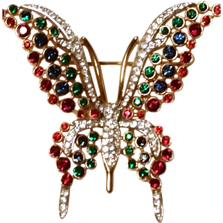TRIFARI Sparkling Multi Color Tall Wing Butterfly Brooch Colorful