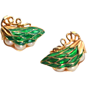 Trifari Earrings PEAS in POD Peapod GREEN Enamel