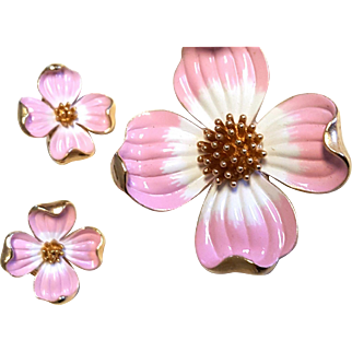 TRIFARI PINK Enamel Dogwood Pin & Earring Set