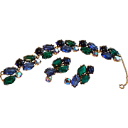 "Schiaparelli Signed Bracelet Earrings Blue & Green ""Lazy S"" Shaped Aurora Stones"