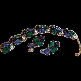 "Schiaparelli Signed Bracelet Earrings Blue & Green ""Lazy S"" Shaped Aurora Stones"