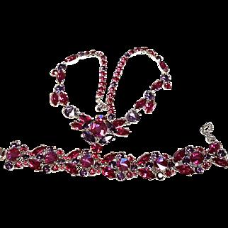 Schiaparelli Shocking Pink and Purple Bracelet & Necklace Set, Signed
