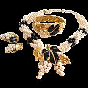 TRIFARI Clamper Bracelet Necklace Clip Earrings Kunio Matsumoto Black Enamel & Simulated Pearl