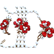"""TRIFARI RED Poured Glass """"Camellia"""" Flower Necklace, Bracelet, Pin Very Good"""
