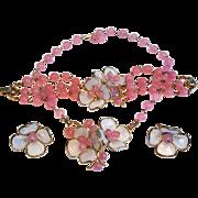 TRIFARI Necklace Bracelet Earrings PINK Camellia Poured Glass Petals & Beads