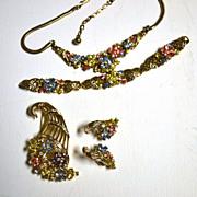 "TRIFARI ""Fragonard"" Pastel Flowers Parure of Necklace, Bracelet & Earrings"