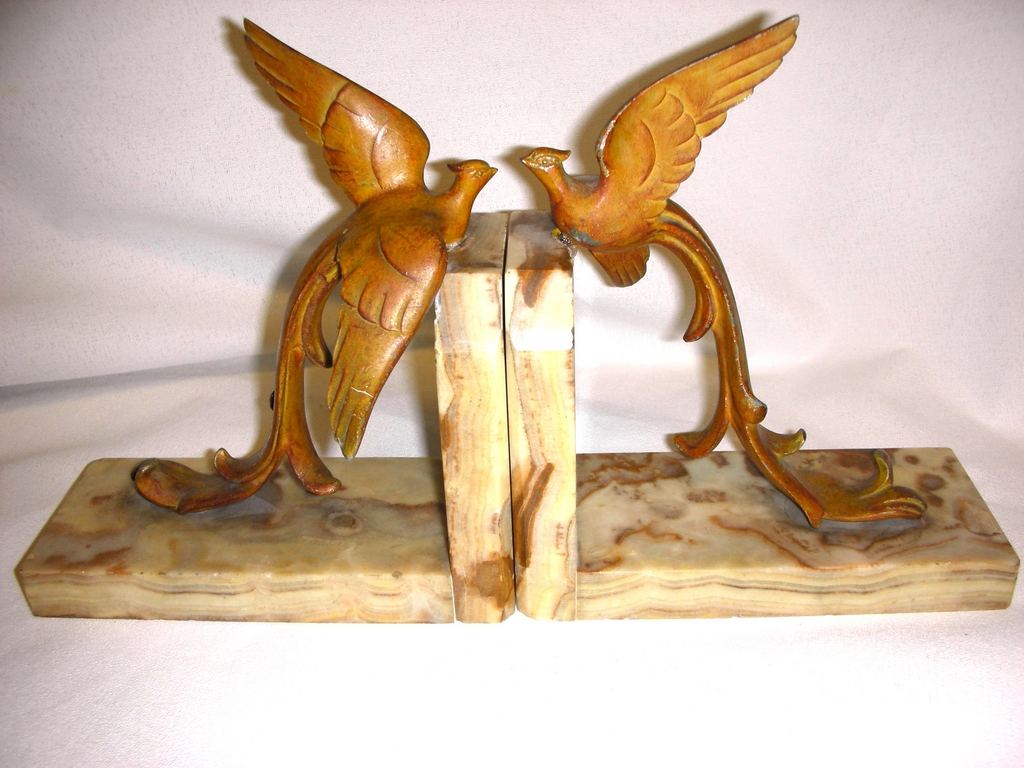 Rare 1925 Birds of Paradise Art Deco Bookends ~ Spelter on Marble~French Label