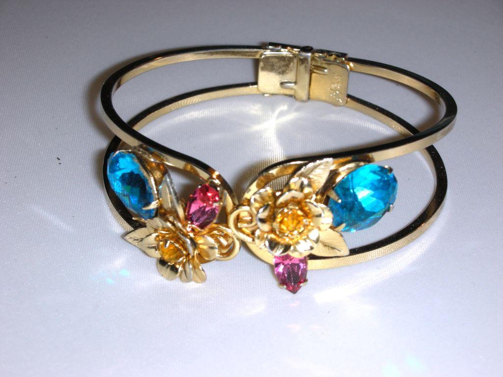 Coro Aqua Blue Clamper Bracelet