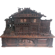 Carved Swiss Chalet with Cylinder Music Box 1881