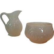 Belleek creamer and sugar. Shell/Snail pattern.
