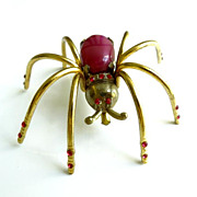 Vintage Mauve Moonglow and Rhinestone Spider Pin