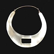 ALEXIS BITTAR White Frosted Carved Collar Bib Necklace