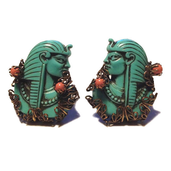 SELRO/SELINI 1940's - 50's Pharaoh Turquoise Color Clip Earrings