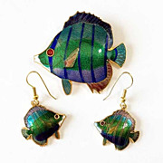 Enamel Fish Brooch/Pin and Earring Set