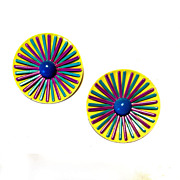Vintage 1960's MOD Enamel Clip Earrings