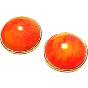 Bakelite Tequila Sunrise Round Clip Earrings