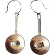 Sterling Fish Frying in Pan Earrings