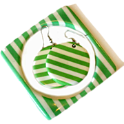 Green and White Striped Bangle Bracelet and Earrings