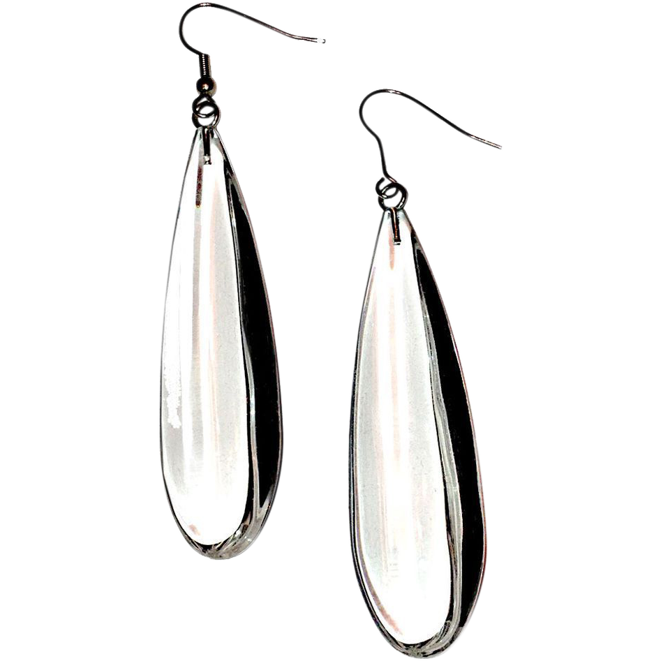 Lucite, Clear Tear Drop Dangle Earrings SOLD on Ruby Lane