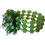 Green Moonglow and Crystal Stretchy Bracelet