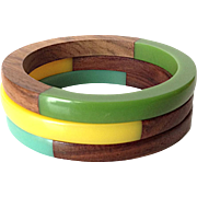Vintage Wood and Lucite Bangle Bracelets