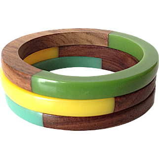 Vintage Wood and Lucite Bangle Bracelets