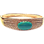 Sterling, Turquoise and White Rhinestone Hinged Bracelet
