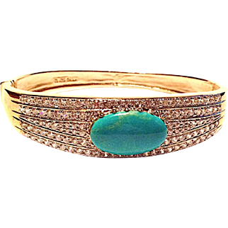 Sterling, Turquoise and White Rhinestone Hinged Bracelet