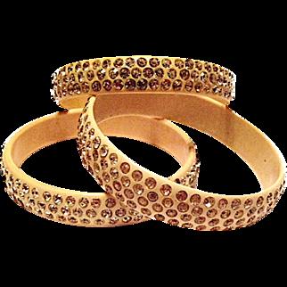 Celluloid and Rhinestone Bangle Bracelet Set