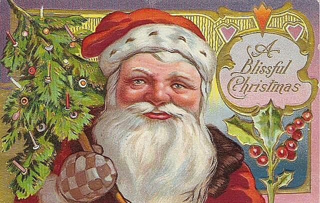 St Nicholas style Santa w Blue & Gold Checkered Mittens