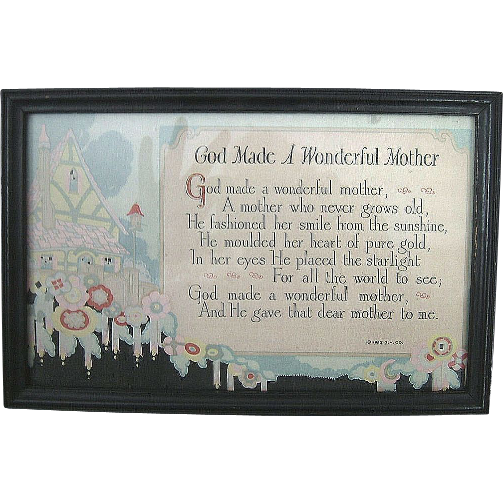 Mother Motto 1928  Art Deco  Framed