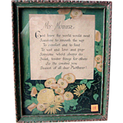 Vintage Mother Framed Motto  1920s Art Deco Design Hand Signed