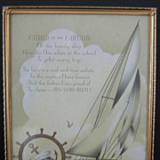 "Vintage Art Deco ""Father is the Captain"" Framed Motto Print  1920's"