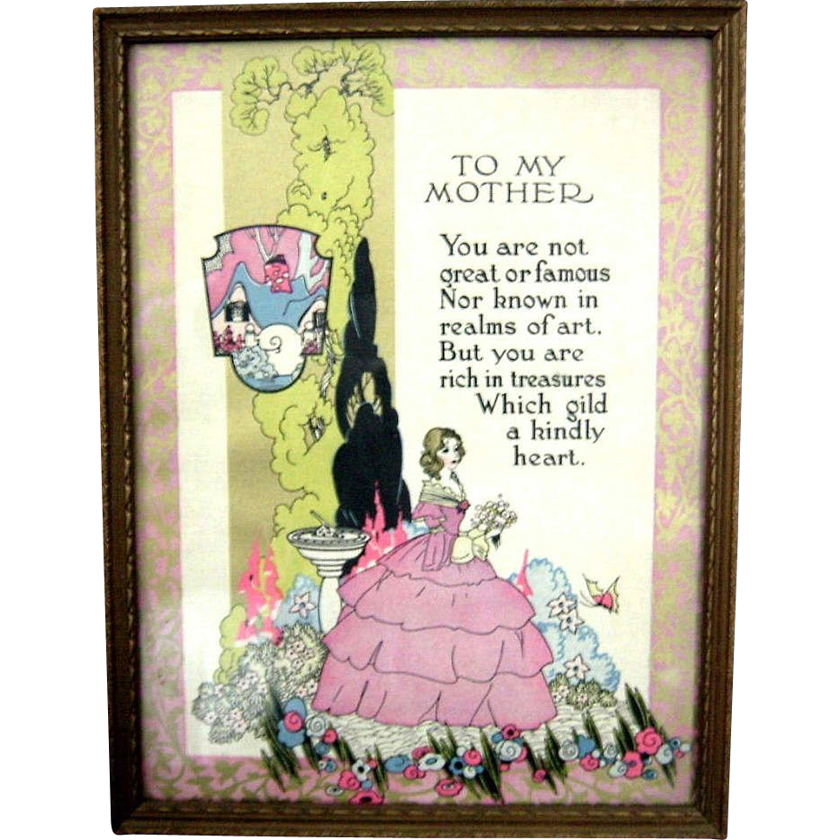 "Vintage Mother Motto Print  ""To My Mother"" Art Deco Era Framed"