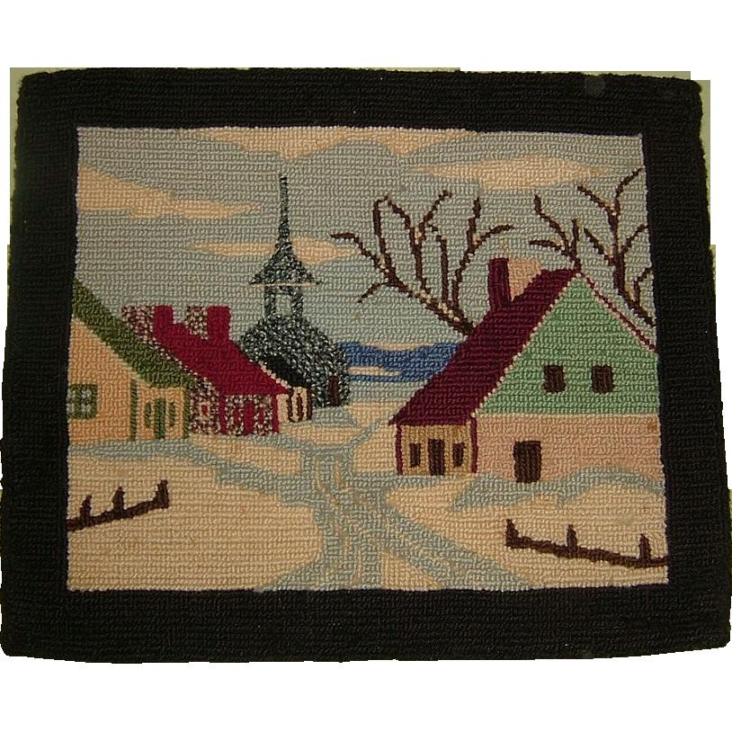 Hand Hooked Quebec Rug Village Scene  Circa 1900
